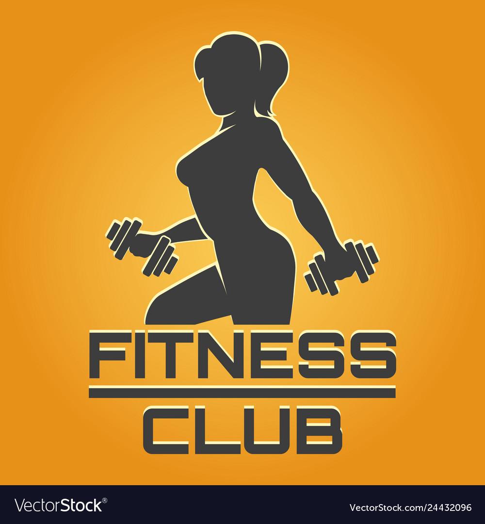 Fitness emblem on yellow background