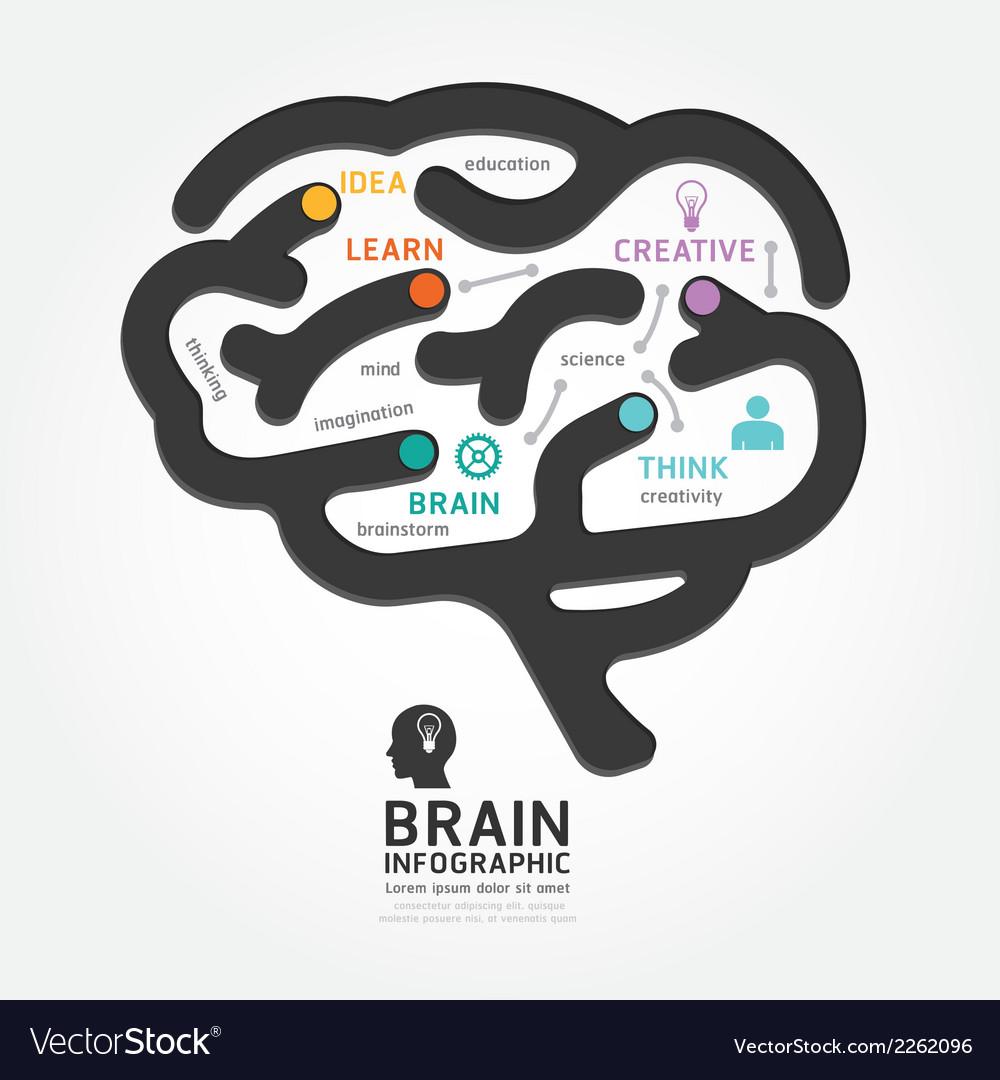 Infographics brain design diagram line style