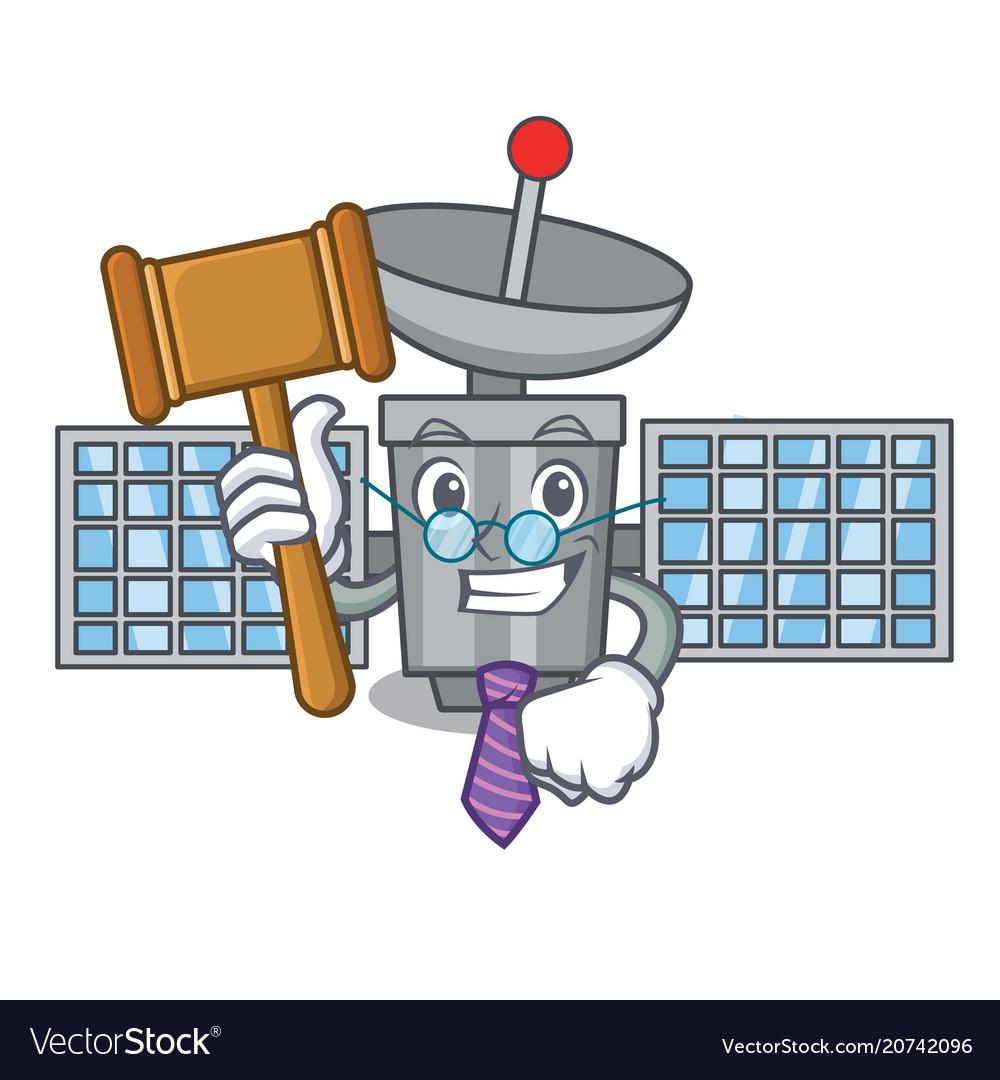 Judge satelite mascot cartoon style vector image