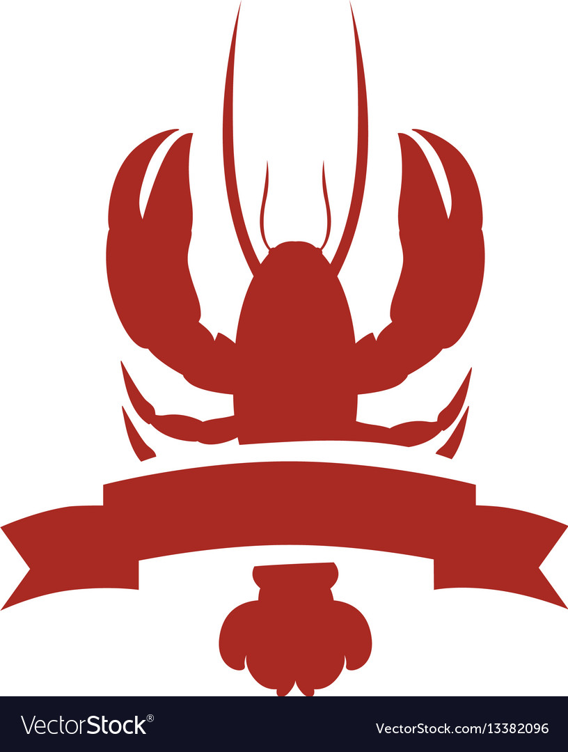 Red silhouette lobster with ribbon