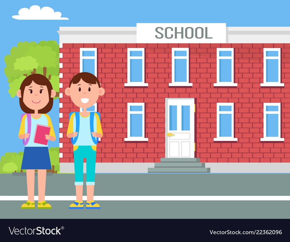 School and children with bags