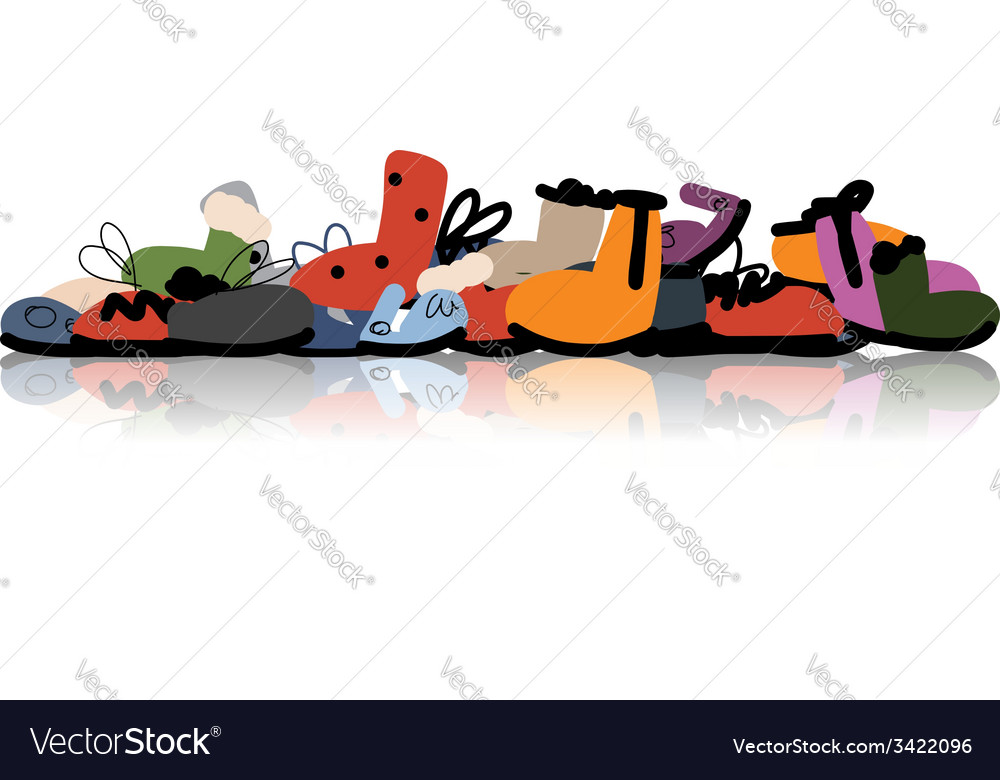 Season shoes collection sketch for your design vector image