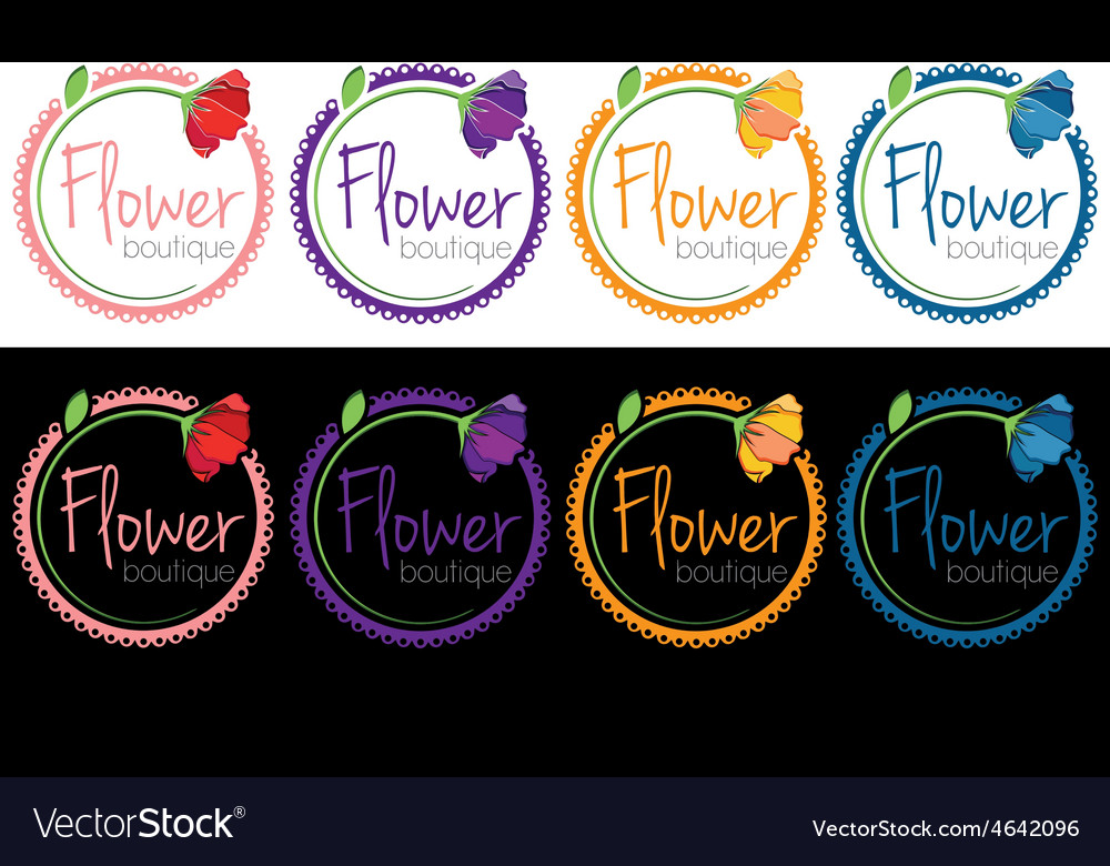 Set of emblems of flower boutique