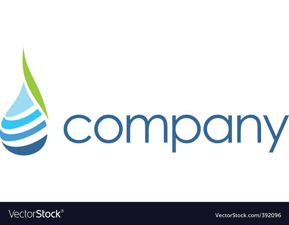 Spa logo leaf water drop vector image
