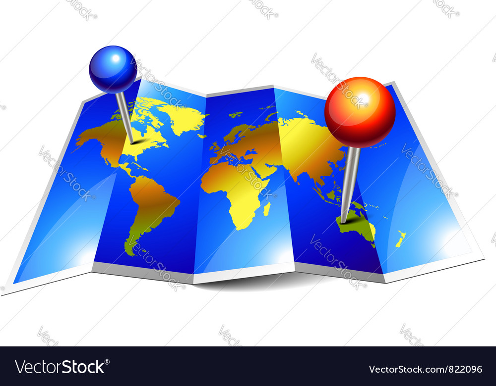 World map paper vector image