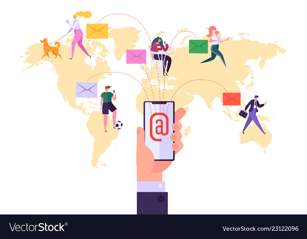 Worldwide email marketing communication concept