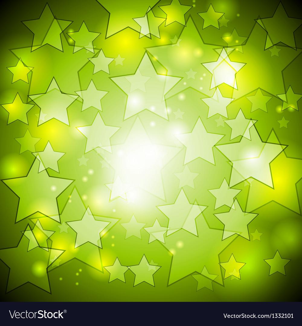 Bright green stars design vector image