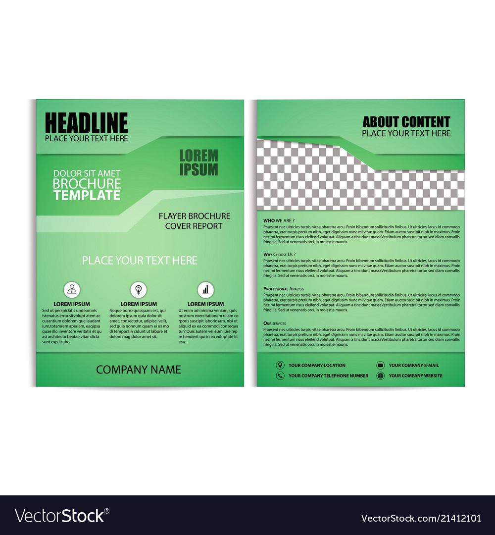 Brochure Design Flyer Template With Green Vector Image