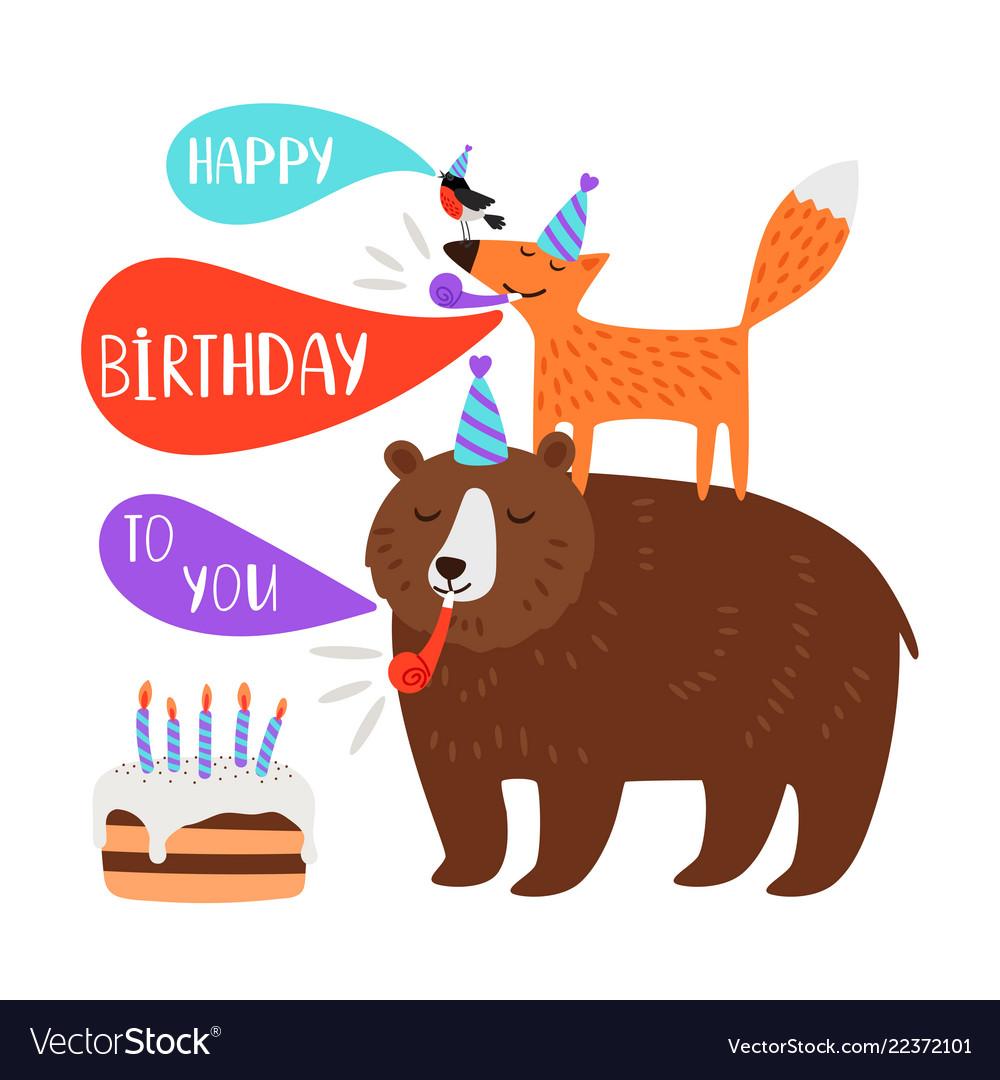Children birthday party card animals
