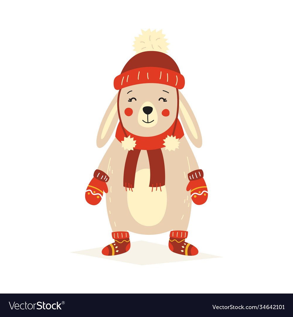 Christmas fluffy white standing rabbit in a red