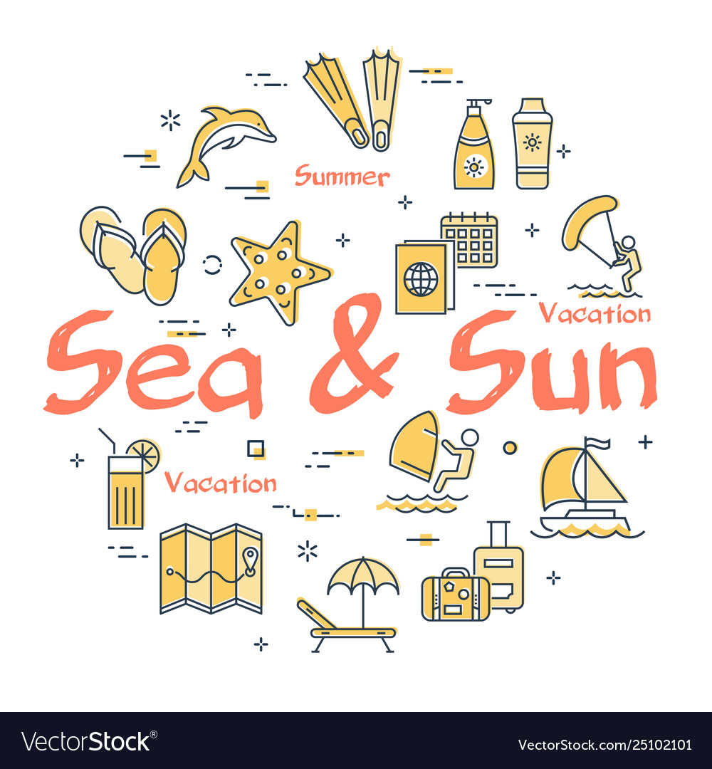 Colorful icons in summer sea and sun theme