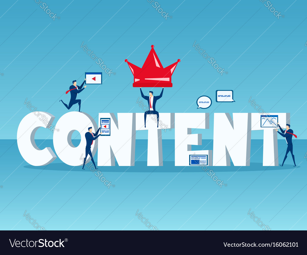 Content is king business team with big word