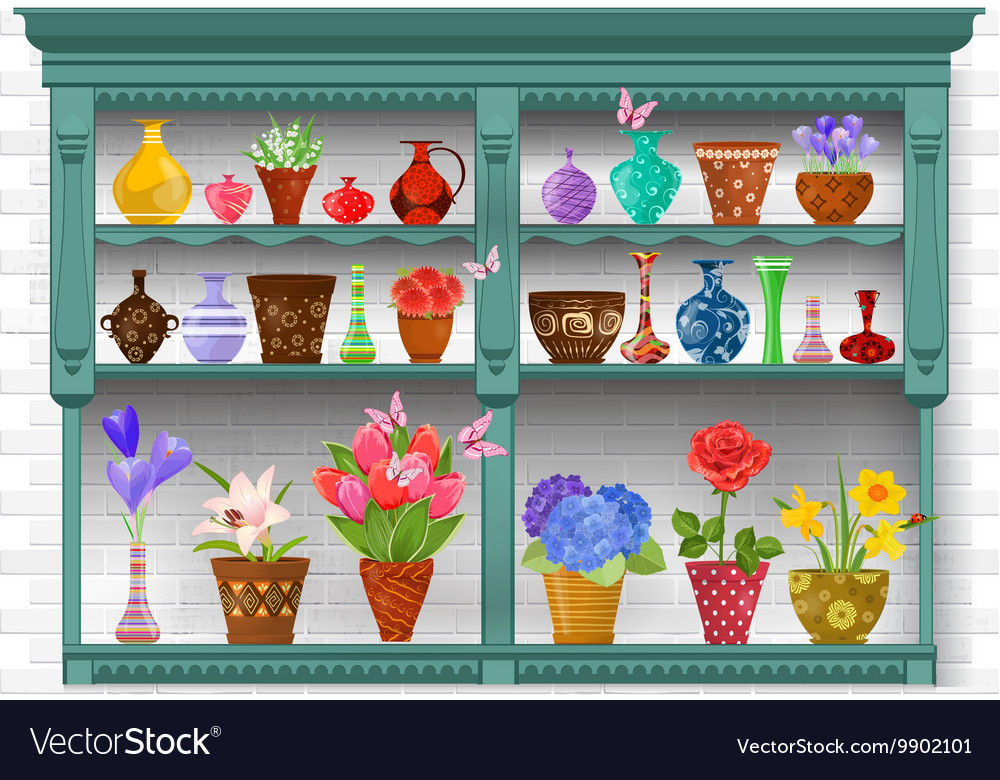 Cupboard With Modern Glass Vases And Flowers Vector Image
