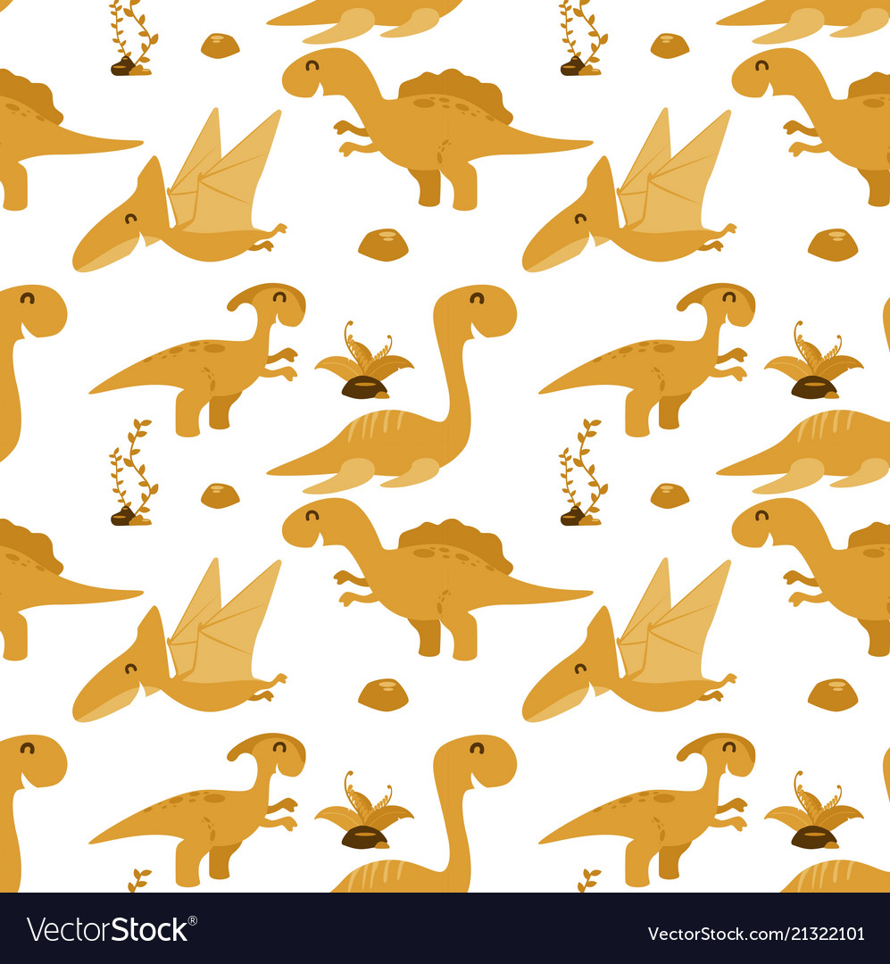Cute seamless pattern with cartoon dinosaurs