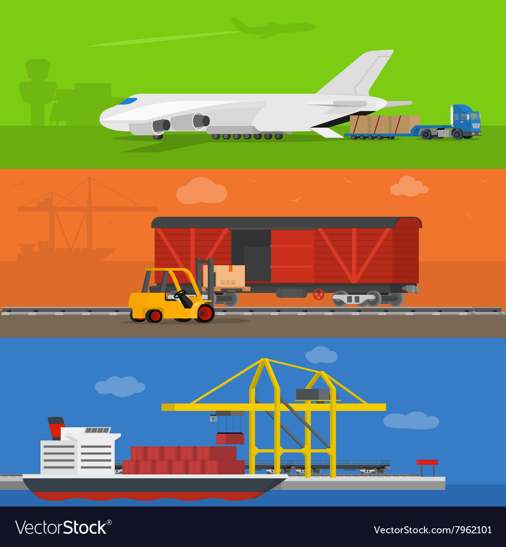 Freight logistics and transportation banners