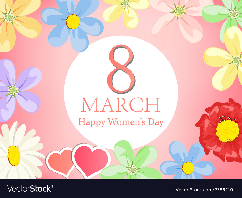 Happy women day greeting card- floral greeting