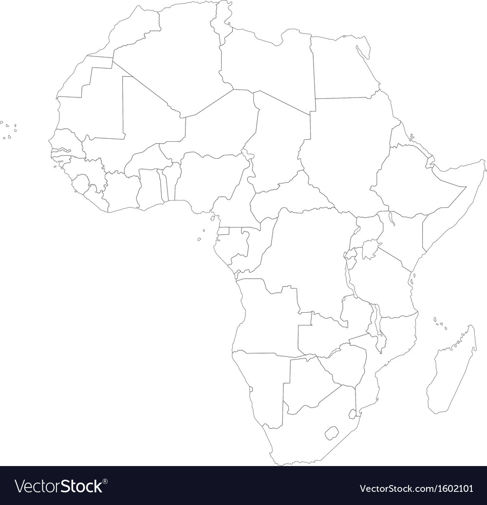 Outline Africa Map Royalty Free Vector Image Vectorstock
