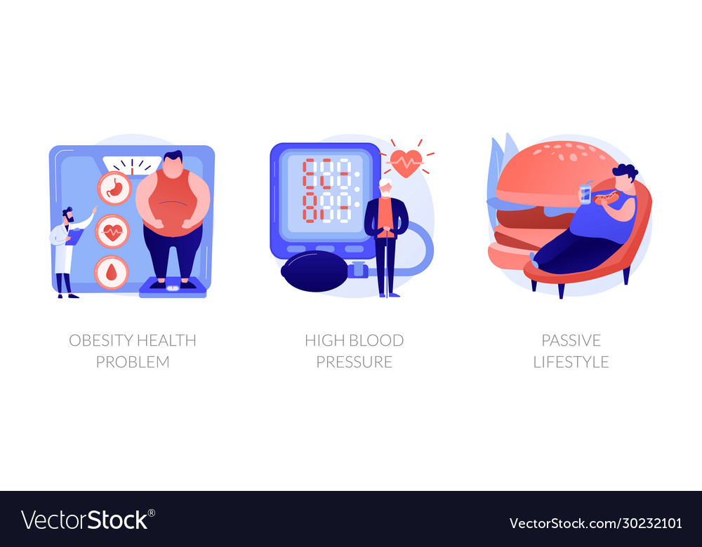 Overweight Consequences And Treatment Royalty Free Vector