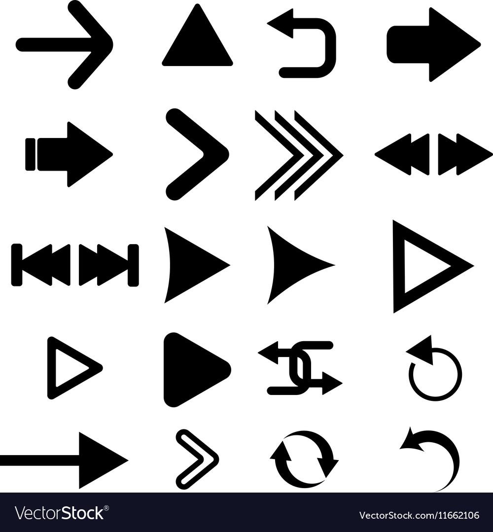 Arrow button icon set black color on white vector image