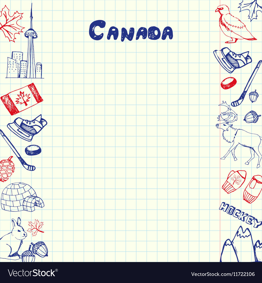 Canada Symbols Pen Drawn Doodles Collection