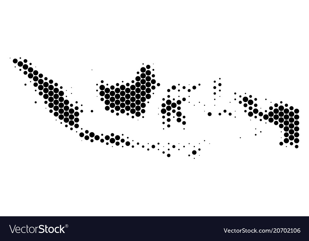 Dot halftone indonesia map Royalty Free Vector Image