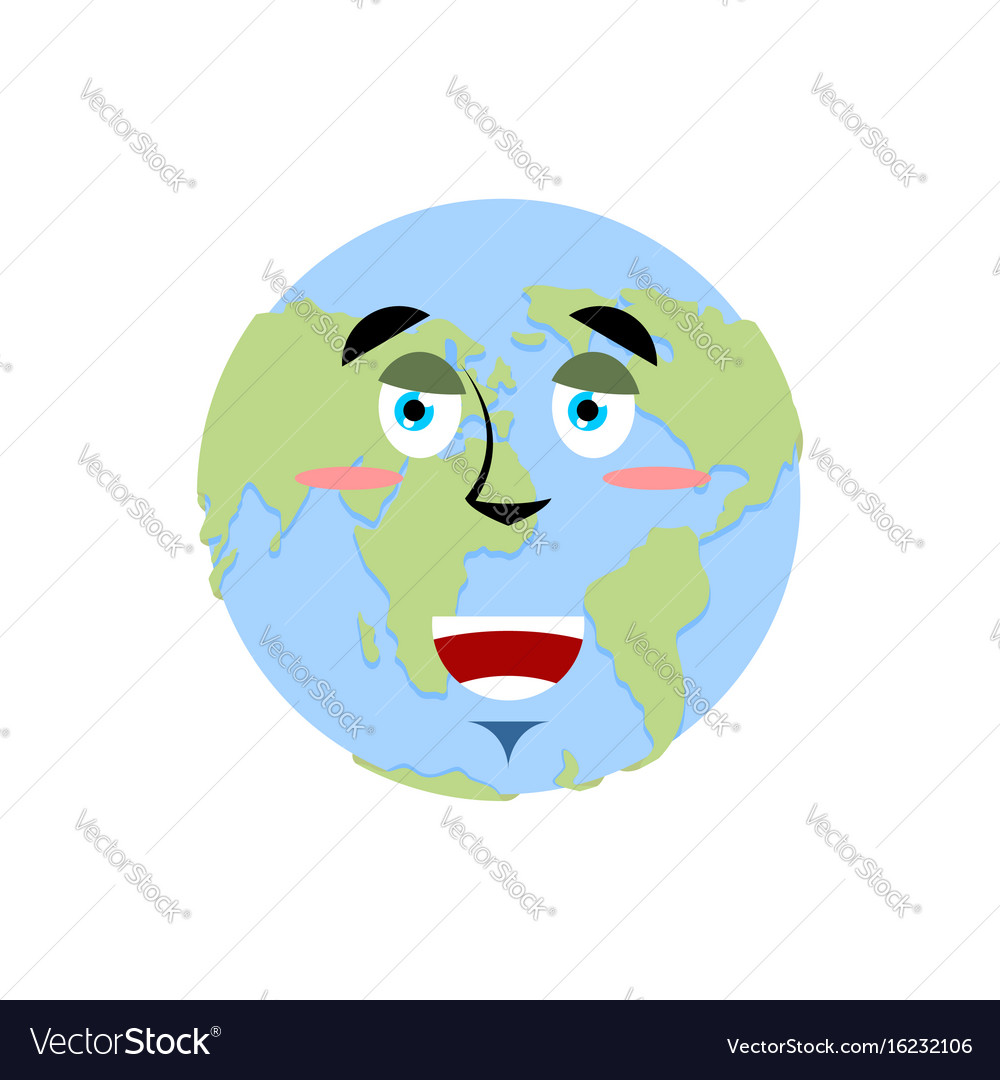 Earth Happy Emoji Planet Merry Emotion Isolated