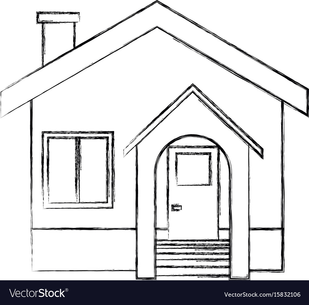 Facade house home stairs chimney door exterior vector image