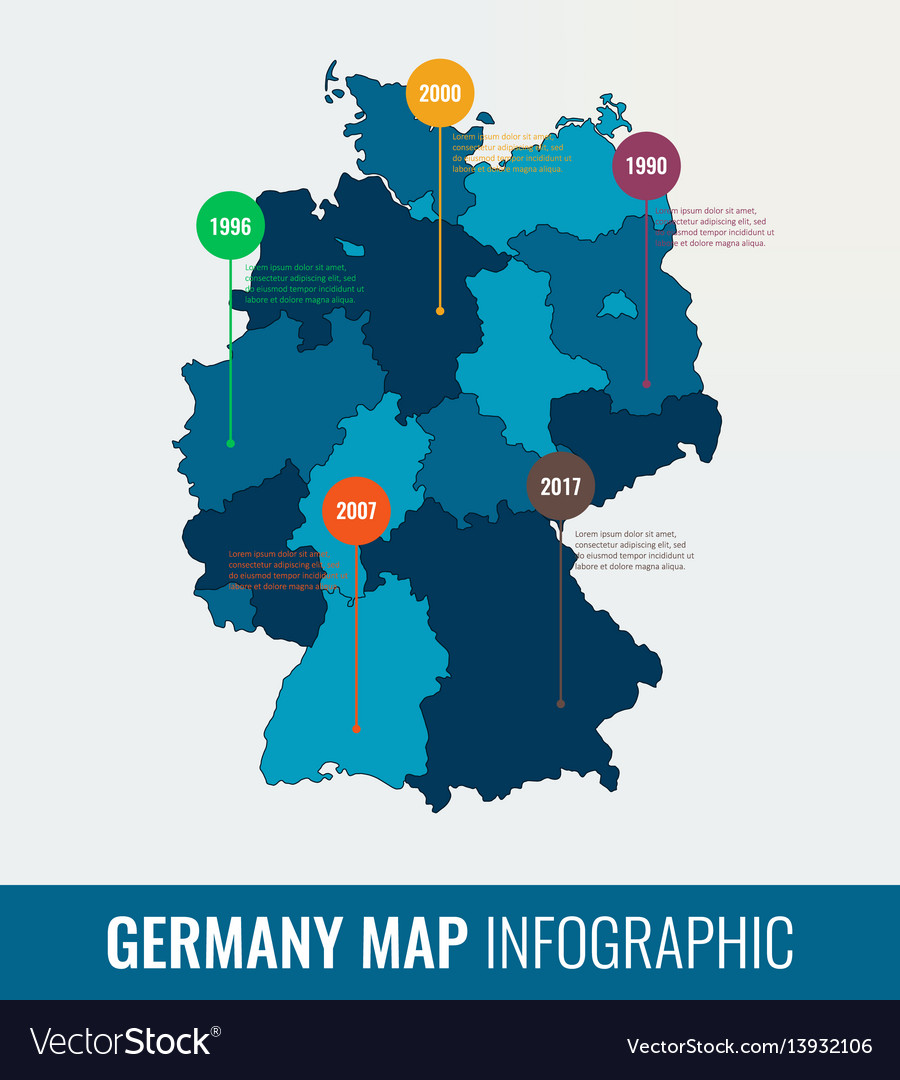 Regions Of Germany Map.Germany Map Infographic Template All Regions Are