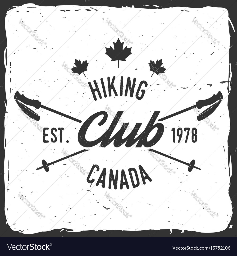 Hiking club badge with trekking poles