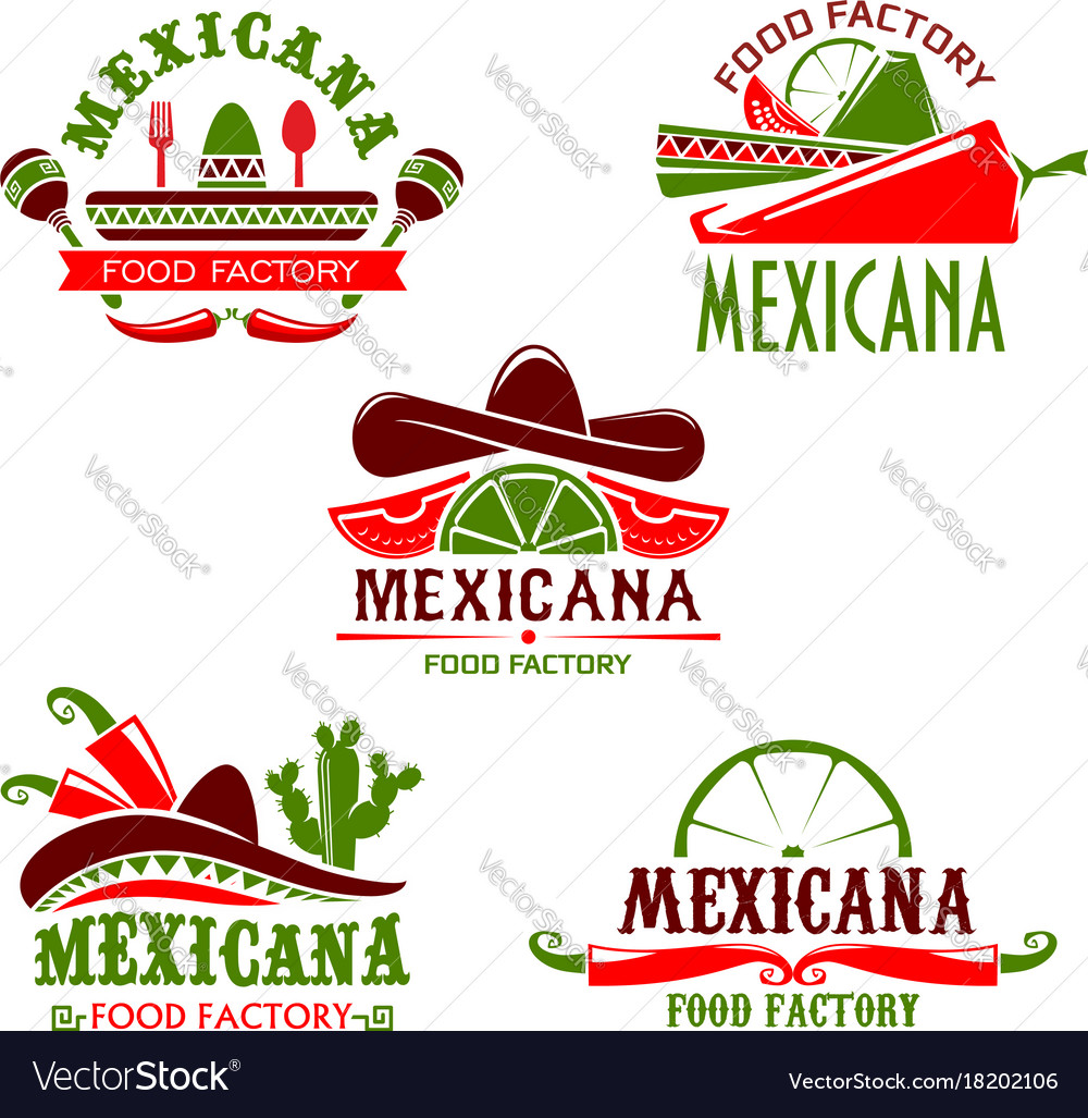 Mexican food cuisine restaurant icons set