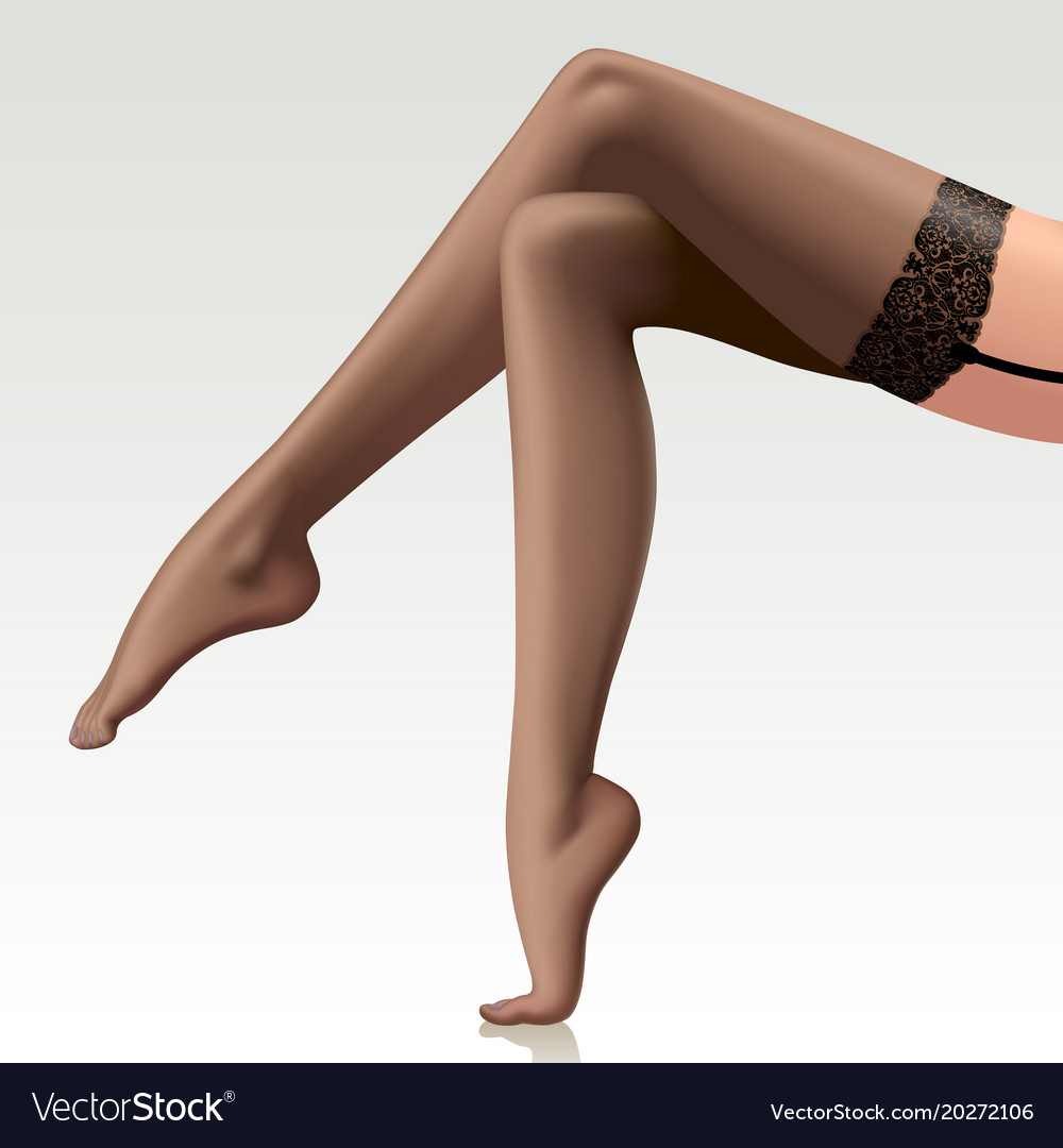 Sexy Crossed Beautiful Long Female Legs In Vector Image
