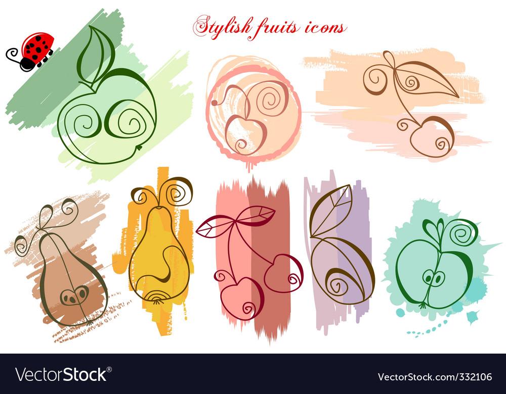 Stylish fruits icons vector image
