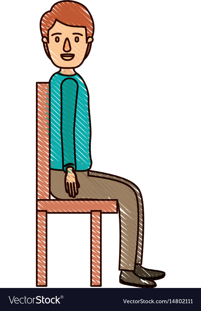 Color crayon stripe cartoon full body guy sit in a