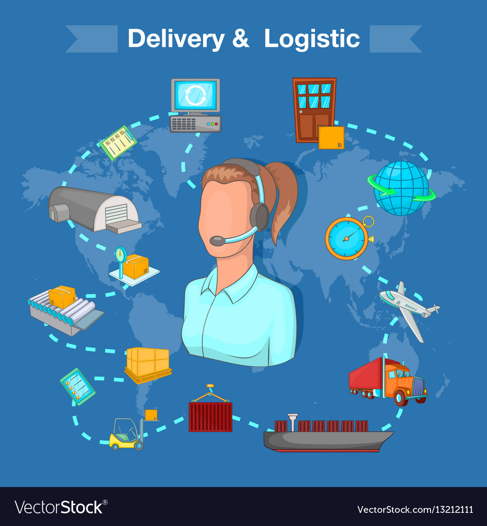 Delivery and logistic concept cartoon style