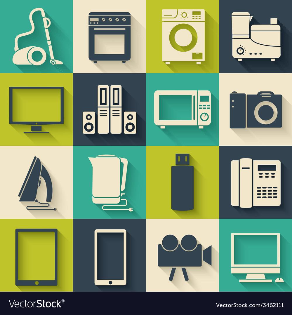 Flat modern kitchen appliances set icons concept