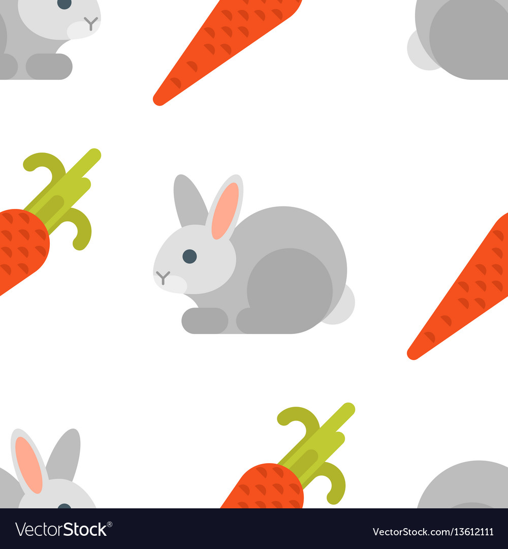 Flat style seamless pattern with rabbit and carrot