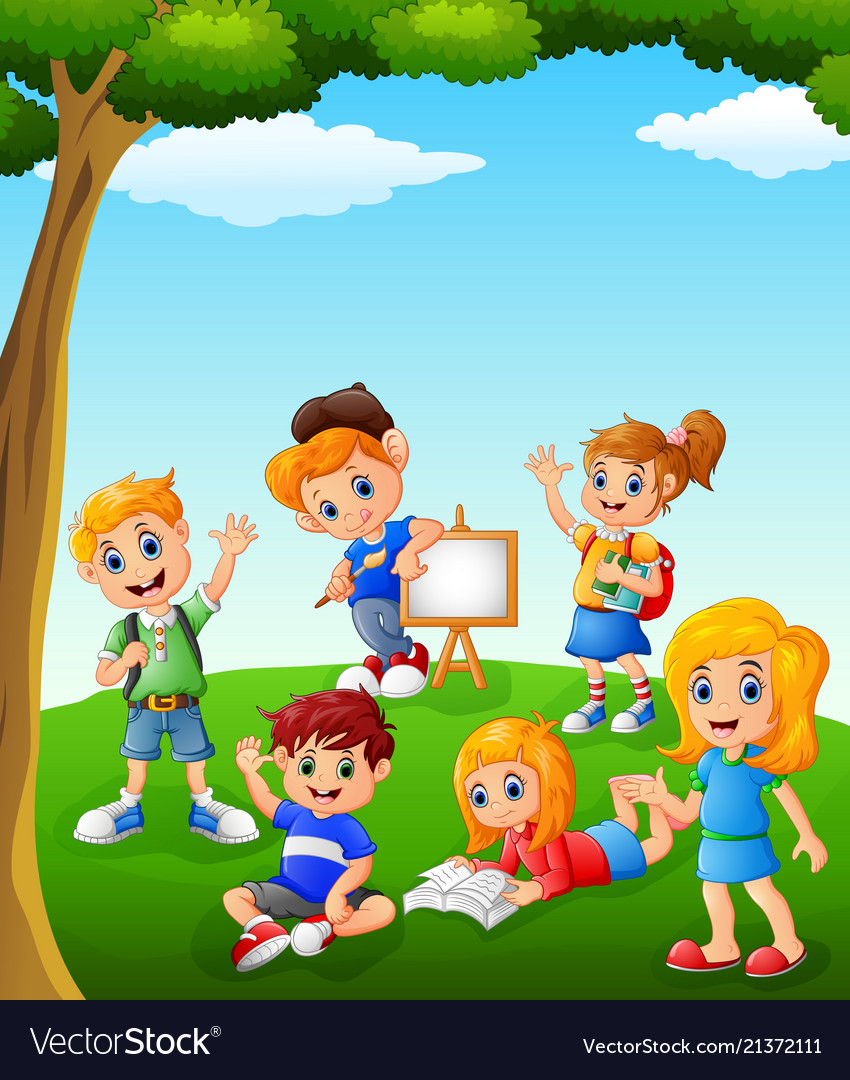 Happy kids learning on the field Royalty Free Vector Image