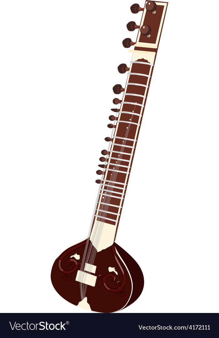 Indian musical instruments - sitar vector image