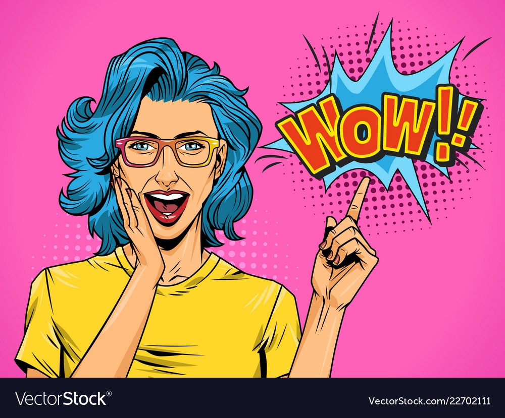 Pop art beautiful surprised woman