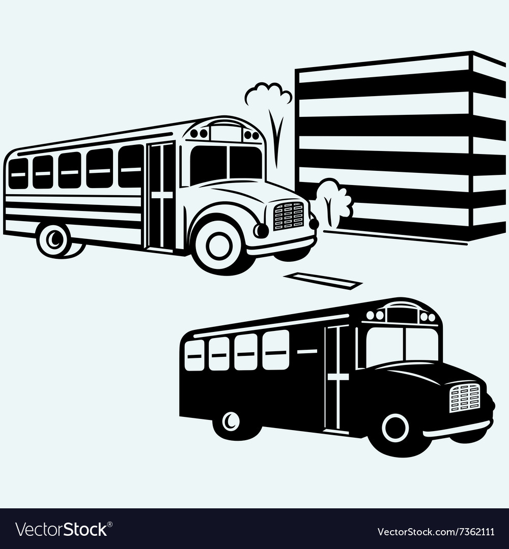 School bus driving along street vector image
