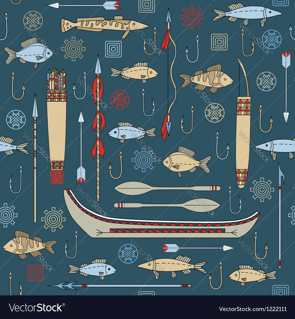 Seamless pattern of Indian fishing vector image