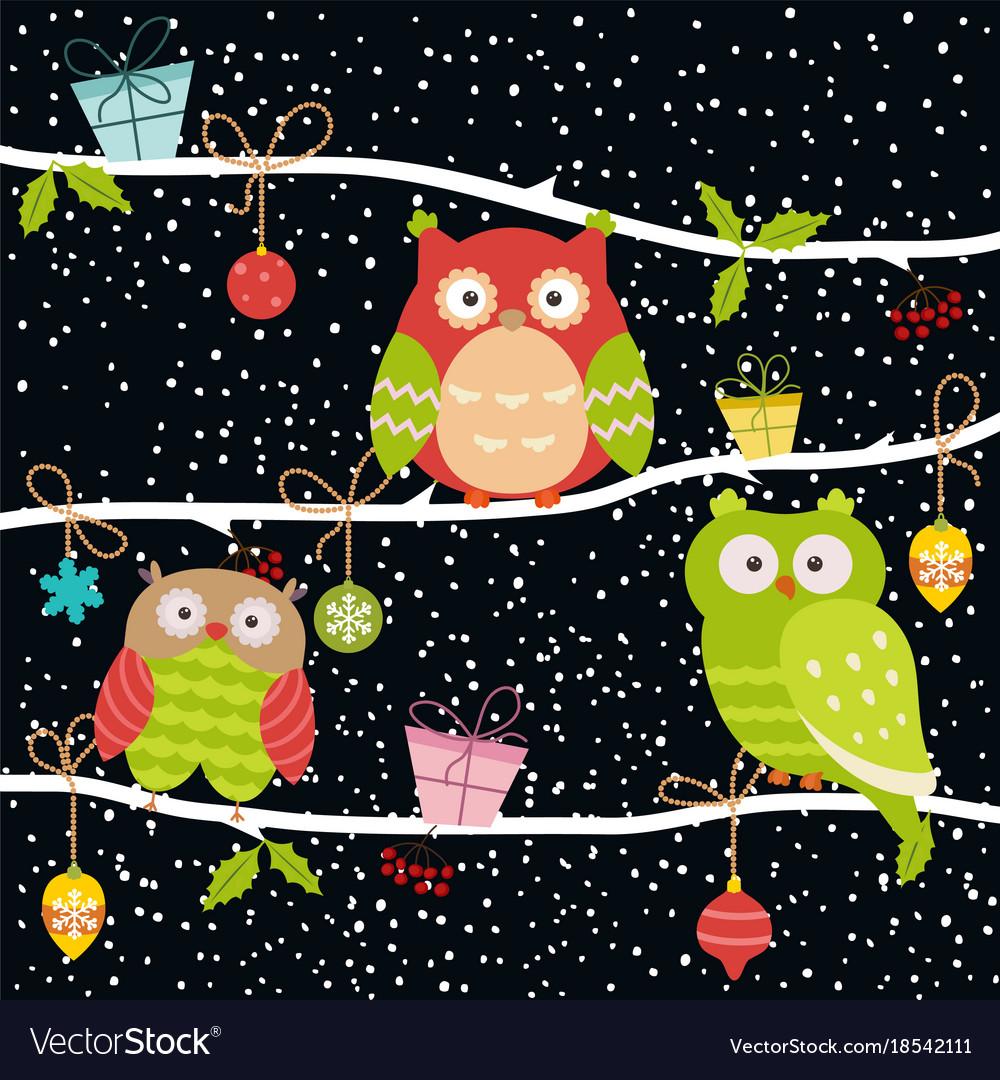 Set of christmas owls vector image
