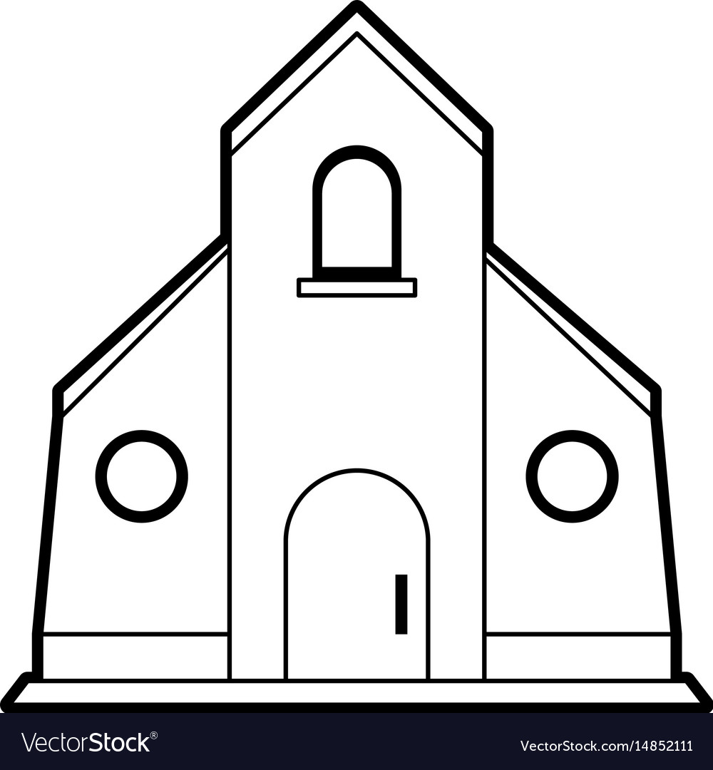 Sketch silhouette image church building vector image