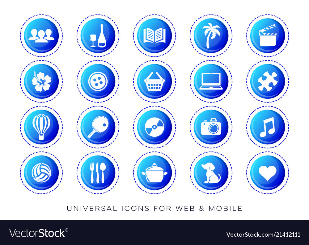Universal leisure web and mobile icons
