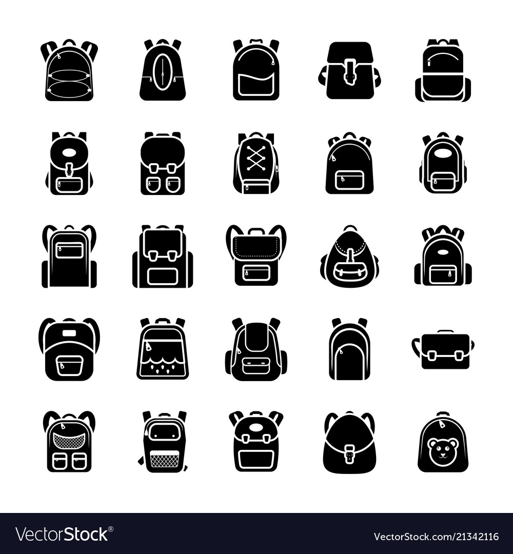 Back To School Kids School Backpack Glyph Icons S Vector Image