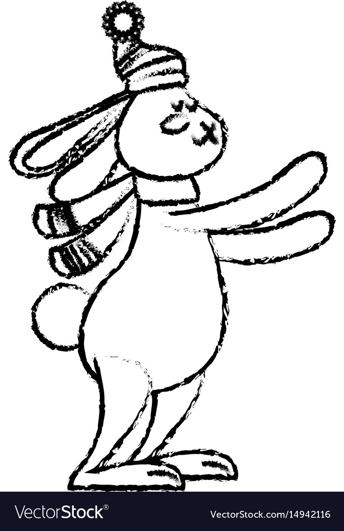 Cute rabbit with scarf winter christmas image