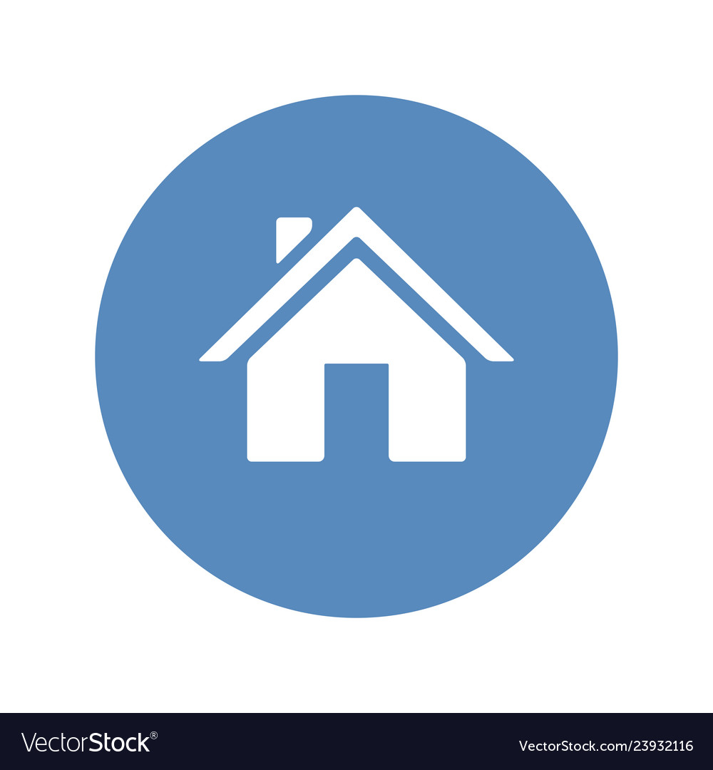 Home symbol placed in blue circle