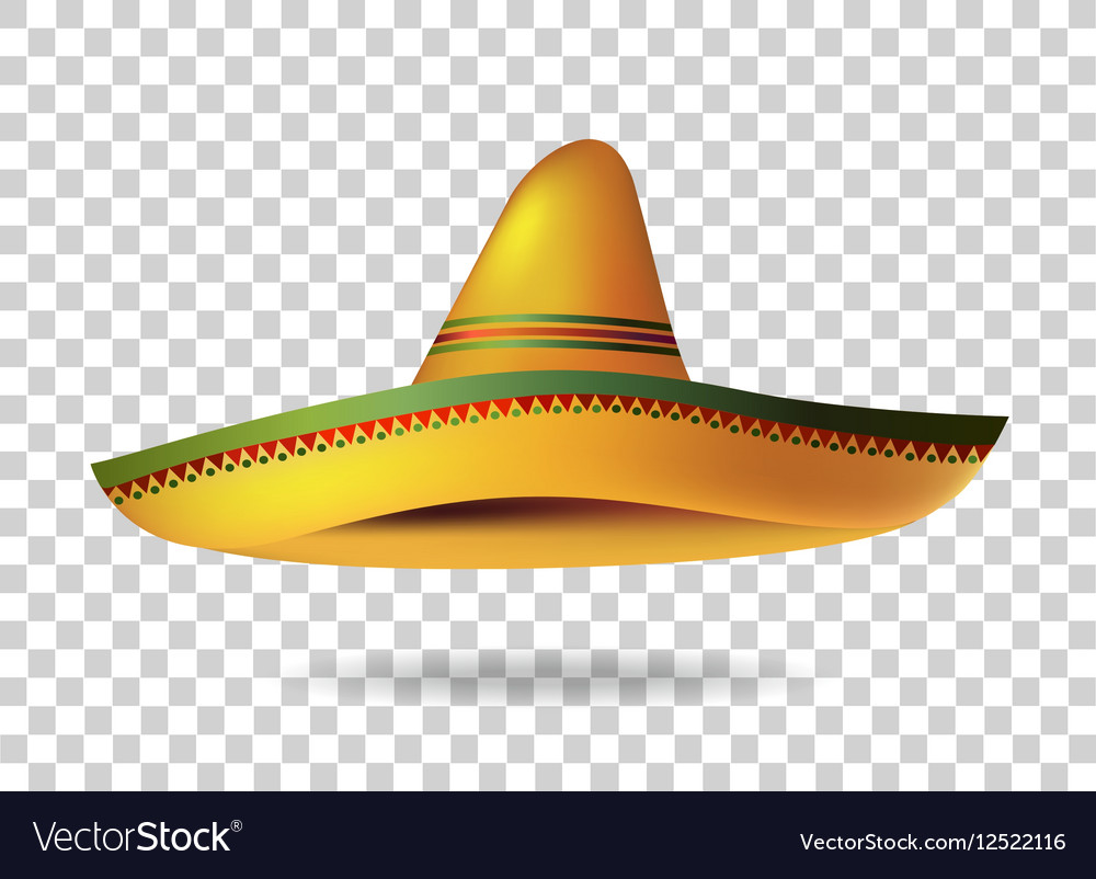 mexican sombrero hat transparent background vector image