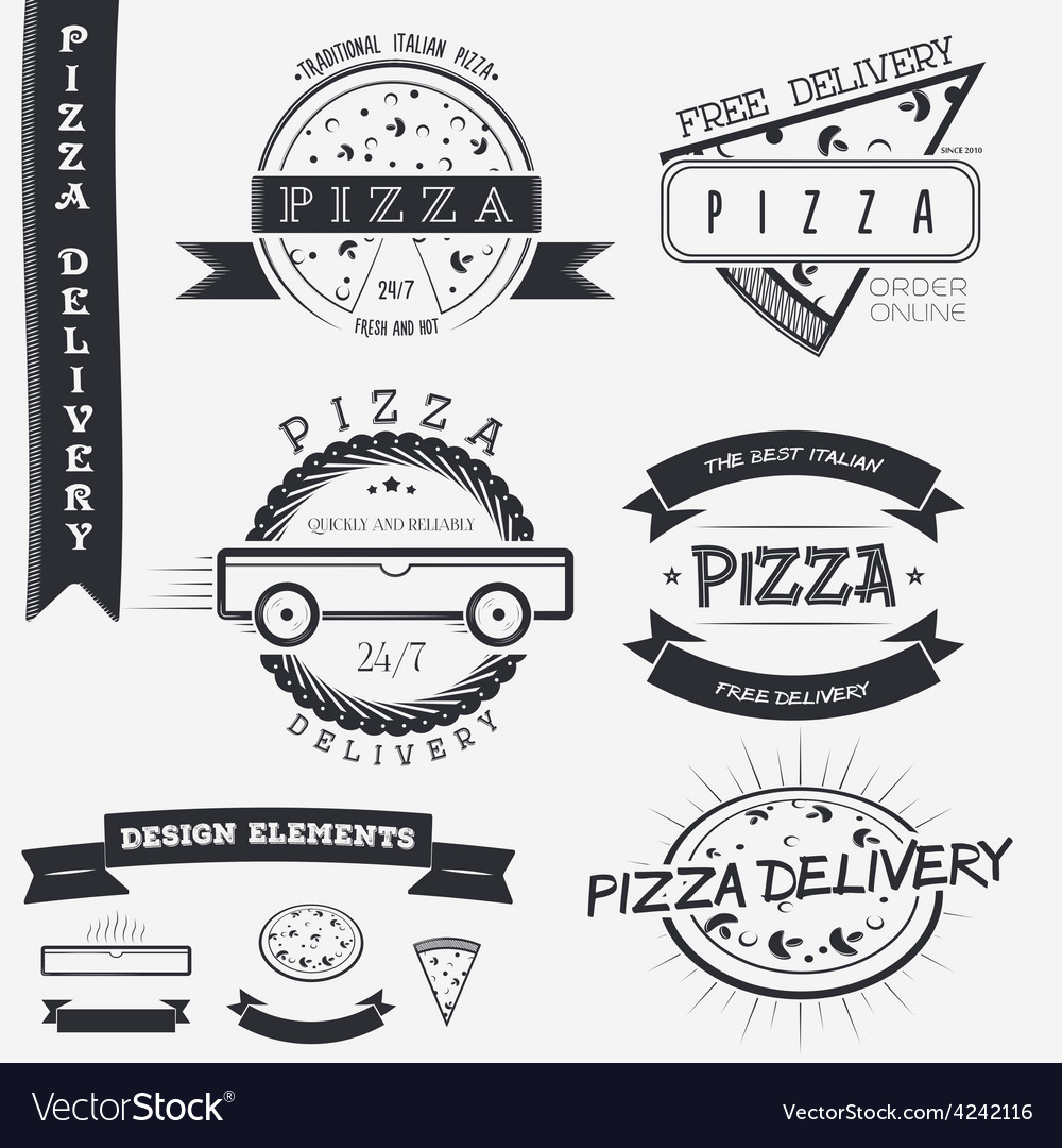 Pizza delivery The food and service Set of