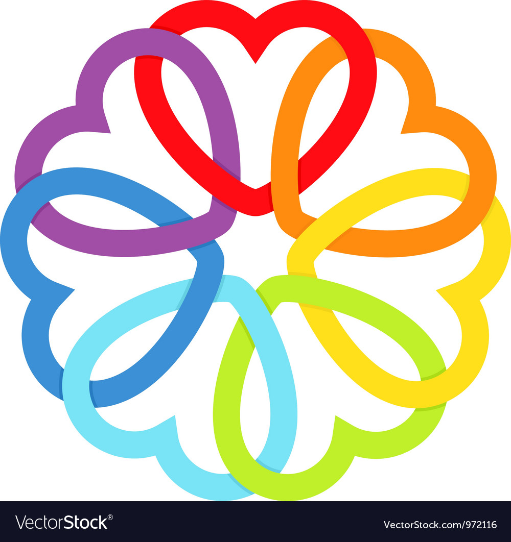Rainbow connected hearts vector image